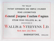 Wallis and Steevens Catalogue Road Locomotives Traction Engines